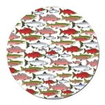 Pacific Salmon pattern Round Car Magnet