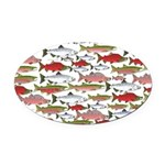 Pacific Salmon pattern Oval Car Magnet