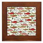 Pacific Salmon pattern Framed Tile