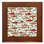 Pacific Salmon pattern Framed Tile