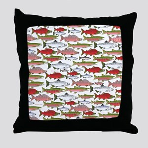 Pacific Salmon pattern Throw Pillow