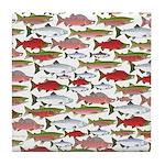 Pacific Salmon pattern Tile Coaster