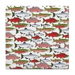 Pacific Salmon pattern Tile Coaster