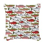 Pacific Salmon pattern Woven Throw Pillow