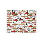 Pacific Salmon pattern 5'x7'Area Rug