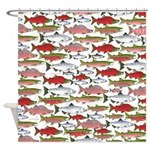 Pacific Salmon pattern Shower Curtain