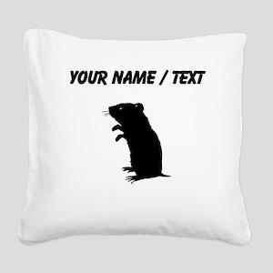 Gerbil Silhouette (Custom) Square Canvas Pillow