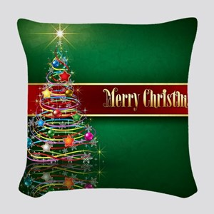 Merry Christmas Woven Throw Pillow