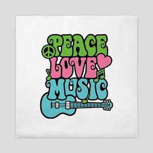 Peace-Love-Music Queen Duvet