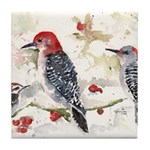 Woodpeckers in the Snow Tile Coaster