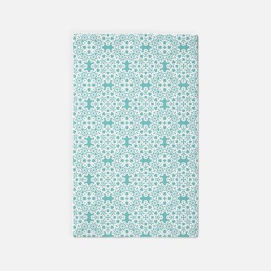 Aqua Sky & White Lace Tile 2 Area Rug