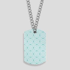 Aqua Sky & White Lace Tile 2 Dog Tags