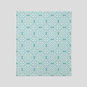 Aqua Sky & White Lace Tile 2 Throw Blanket