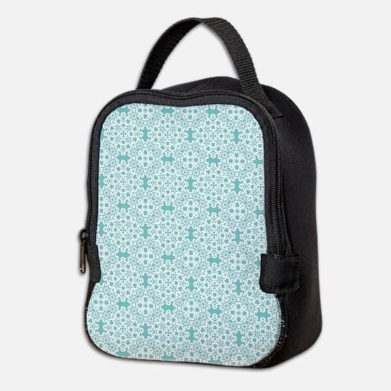 Aqua Sky & White Lace Tile 2 Neoprene Lunch Bag