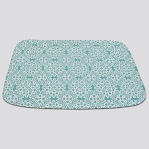 Aqua Sky & White Lace Tile 2 Bathmat