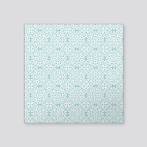 "Aqua Sky & White Lace Tile Square Sticker 3"" x 3"""