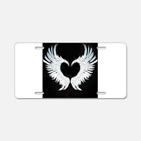 Angelwings heart Aluminum License Plate