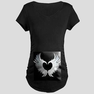 Angelwings Heart Dark Maternity T-Shirt