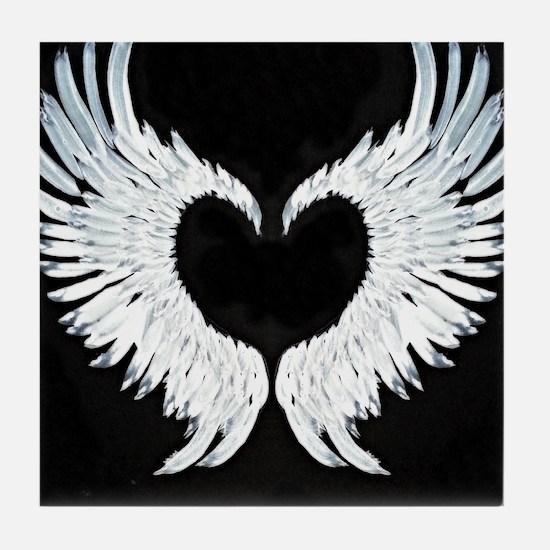 Angelwings heart Tile Coaster
