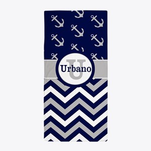 Navy Gray Chevron Anchors Personalized Beach Towel