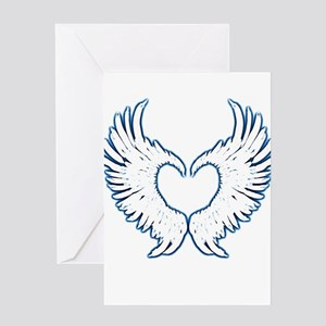 Angel wings touch of blue Greeting Cards