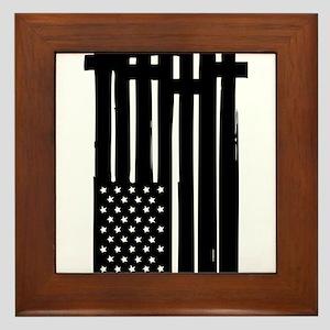 American Flag Crosses Framed Tile