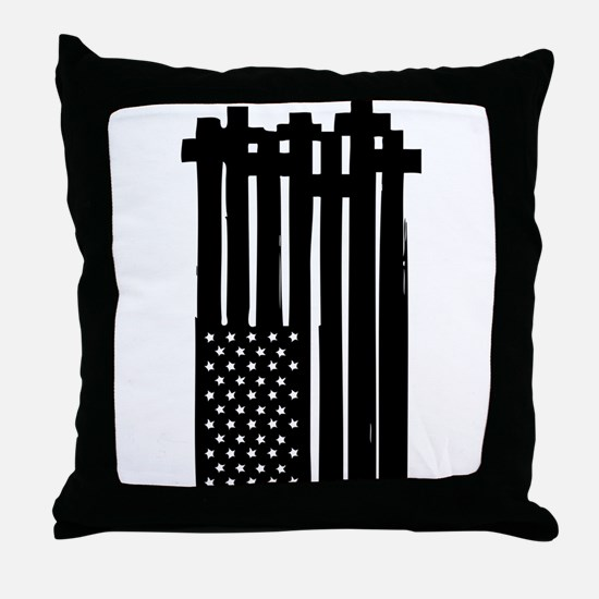 American Flag Crosses Throw Pillow