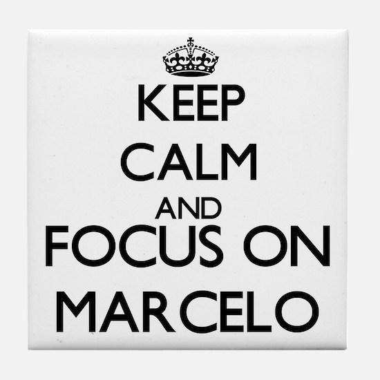 Keep Calm and Focus on Marcelo Tile Coaster