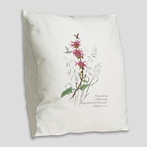 Hummingbird sage Burlap Throw Pillow