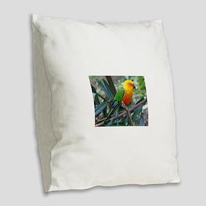 Parakeet Burlap Throw Pillow