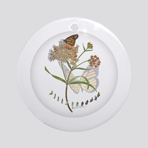 Monarch Butterfly With Narrowleaf Ornament (round)