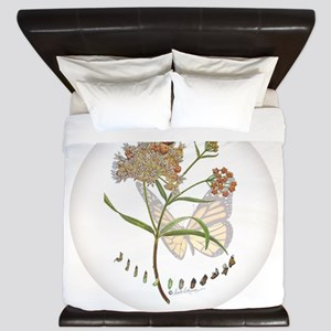 Monarch Butterfly With Narrowleaf King Duvet
