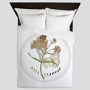 Monarch Butterfly With Narrowleaf Queen Duvet