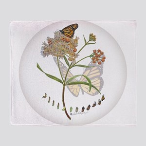 Monarch butterfly with Narrowleaf milkweed Throw B