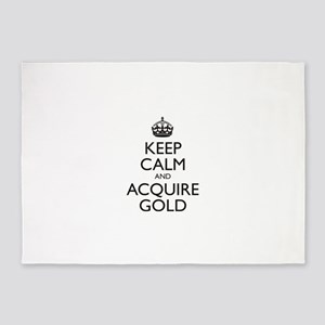 KEEP CALM AND ACQUIRE GOLD 5'x7'Area Rug
