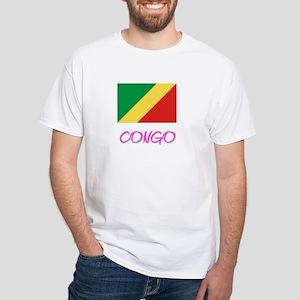 Congo Flag Artistic Pink Design T-Shirt