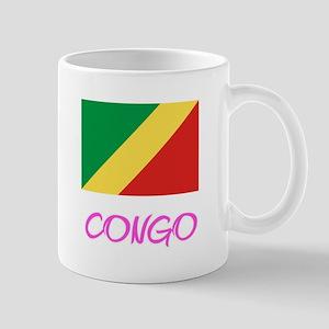 Congo Flag Artistic Pink Design Mugs