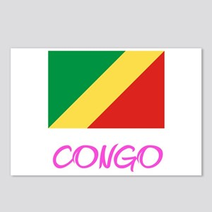 Congo Flag Artistic Pink Postcards (Package of 8)