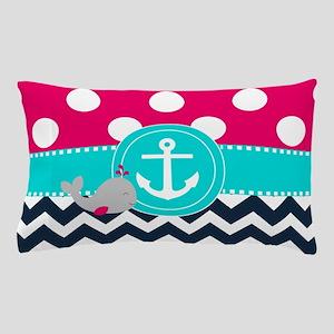 Navy Pink Dots Chevron Anchor Pillow Case