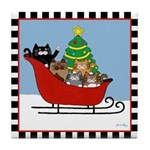 5 Kitty Cats In A Christmas Sleightile Coaster