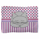 Sleeping Gray Cat Pink Pattern Pillow Sham