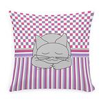 Sleeping Gray Cat Pink Pattern Master Pillow