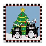 2 Tuxedo Cats Antlers Chirstmas Tree Tile Coaster