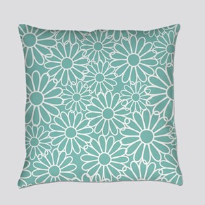 Hot Pink and White Daisy Flowers Master Pillow
