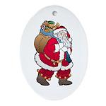 Christmas Art Santa Claus Oval Porcelain Ornament