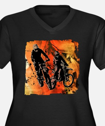 Dirt Bike Duo in Red Orange and Plus Size T-Shirt