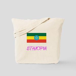 Ethiopia Flag Artistic Pink Design Tote Bag