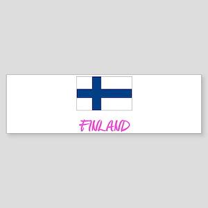 Finland Flag Artistic Pink Design Bumper Sticker