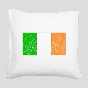 Distressed Ireland Flag Square Canvas Pillow