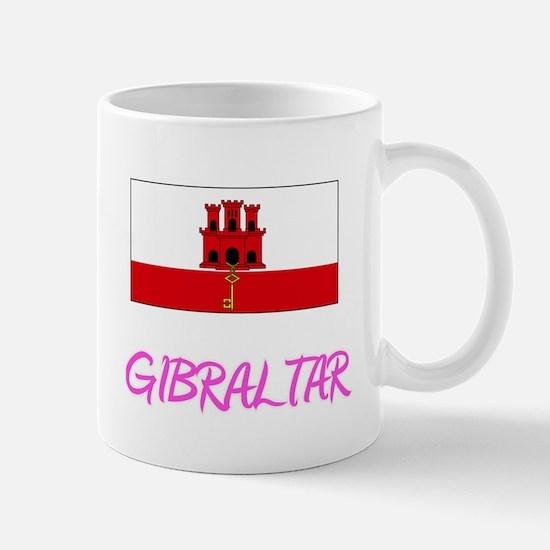 Gibraltar Flag Artistic Pink Design Mugs